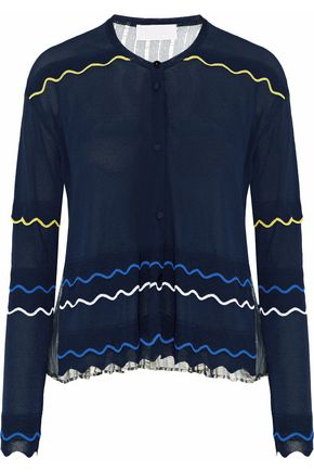 PETER PILOTTO Metallic silk chiffon-paneled stretch-knit cardigan