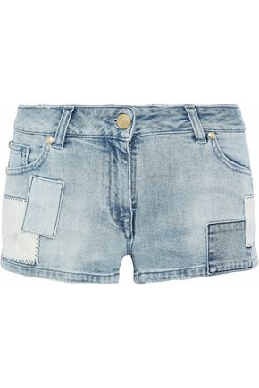 PIERRE BALMAIN Appliquéd patchwork denim shorts