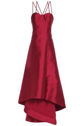 MIKAEL AGHAL Asymmetric flared duchesse satin-twill gown
