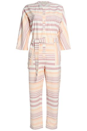 MARA HOFFMAN Striped cotton-canvas jumpsuit