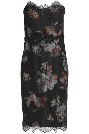 MIKAEL AGHAL Strapless embellished printed lace dress