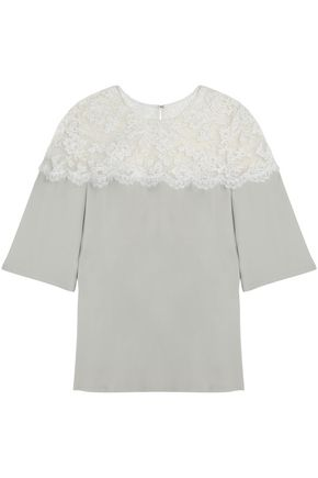 REEM ACRA Two-tone panled lace and silk top