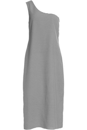 TOTÊME One-shoulder striped silk midi dress