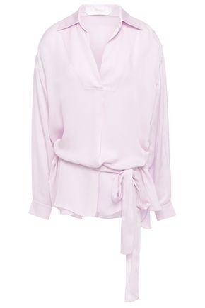 CHLOÉ Tie-neck hammered crepe de chine blouse