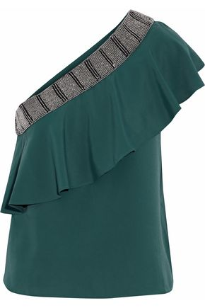 W118 by WALTER BAKER One-shoulder beaded ruffled crepe de chine top