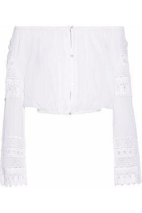 LOVESHACKFANCY Off-the-shoulder crochet-trimmed cotton-gauze top