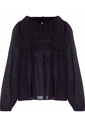 W118 by WALTER BAKER Pleated ruffled chiffon blouse