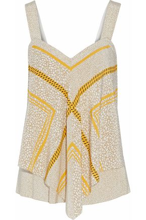 DEREK LAM 10 CROSBY Draped printed silk top