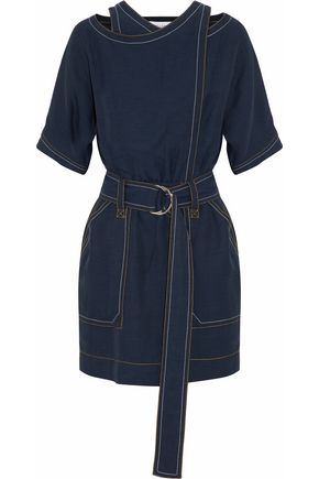 DEREK LAM 10 CROSBY Cold-shoulder belted chambray mini dress