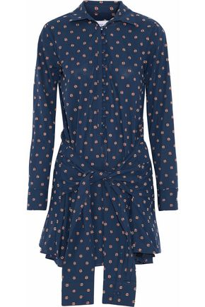 DEREK LAM 10 CROSBY Tie-front cotton-poplin mini dress