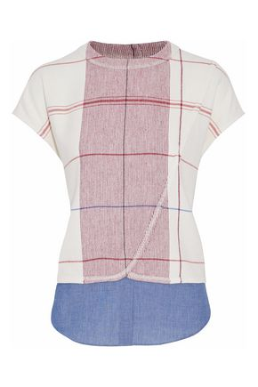 DEREK LAM 10 CROSBY Chambray-paneled plaid woven top