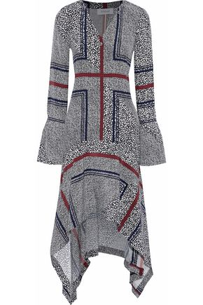 DEREK LAM 10 CROSBY Asymmetric printed silk midi dress