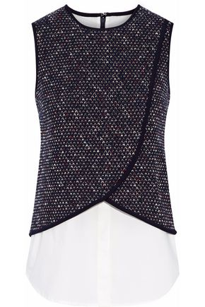 DEREK LAM 10 CROSBY Layered cotton-blend crochet top