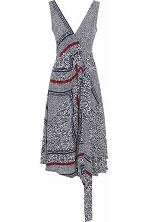 DEREK LAM 10 CROSBY Printed silk wrap dress