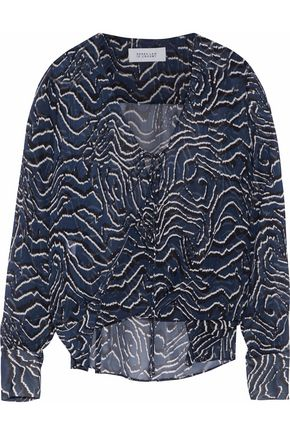 DEREK LAM 10 CROSBY Tie-front printed silk-chiffon blouse