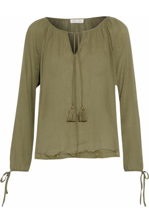 LOVESHACKFANCY Peasant stud-embellished crinkled cotton-gauze top