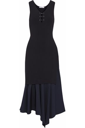 DEREK LAM 10 CROSBY Layered pleated cady and jersey midi dress