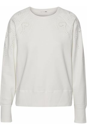 RAG & BONE Cutout embroidered cotton-terry sweatshirt