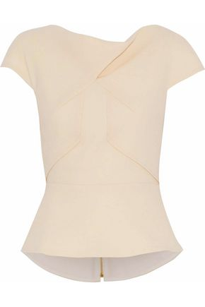ROLAND MOURET Fluted wool-crepe top