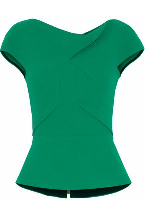 ROLAND MOURET Draped wool-crepe peplum top