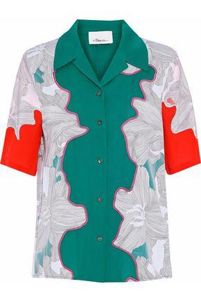 3.1 PHILLIP LIM Mesh-trimmed printed silk shirt