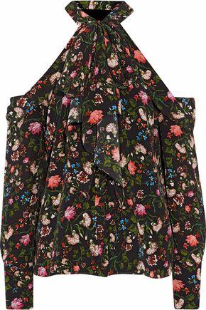 ERDEM Pussy-bow floral-print silk crepe de chine top