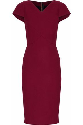 ROLAND MOURET Paneled wool-crepe dress