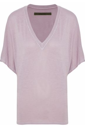 ENZA COSTA Draped mélange stretch-jersey T-shirt