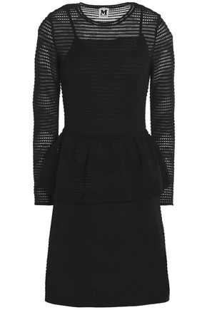 M MISSONI Pointelle and stretch-knit peplum dress
