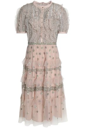 NEEDLE & THREAD Tiered embellished ruffled tulle dress