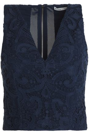 ALICE+OLIVIA Cropped guipure lace top