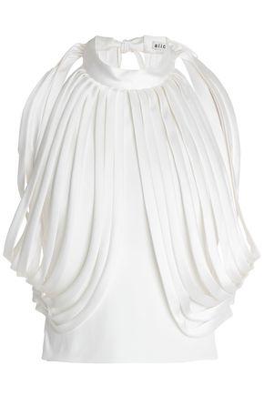 ALICE + OLIVIA Cropped draped cady top