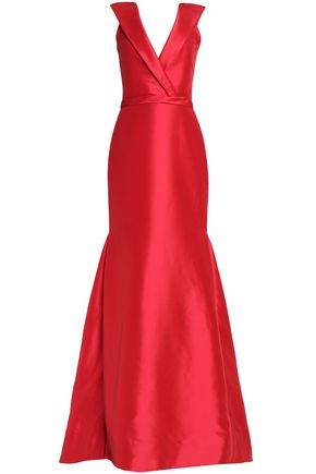 MIKAEL AGHAL Wrap-effect pleated duchesse-satin gown