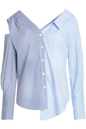 W118 by WALTER BAKER Asymmetric striped cotton-blend poplin shirt