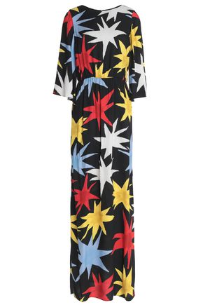 ALICE + OLIVIA Gathered printed crepe gown