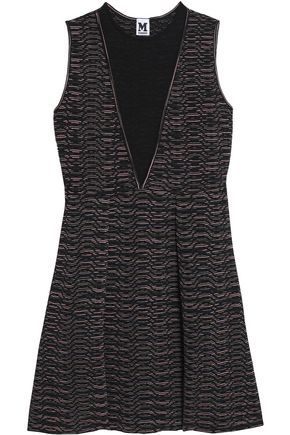 M MISSONI Pleated crochet and jacquard-knit mini dress