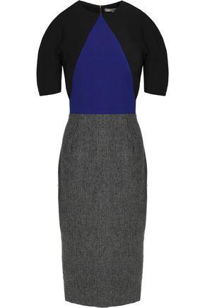 VICTORIA BECKHAM Paneled herringbone silk and wool-blend dress