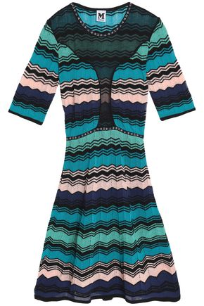 M MISSONI Pointelle-trimmed flared knitted dress