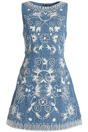 ALICE + OLIVIA Flared embroidered cotton-chambray mini dress