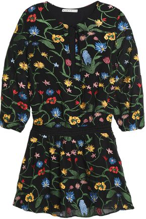 ALICE + OLIVIA Embroidered crepe de chine mini dress
