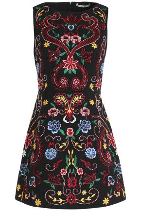 ALICE + OLIVIA Embroidered cotton mini dress
