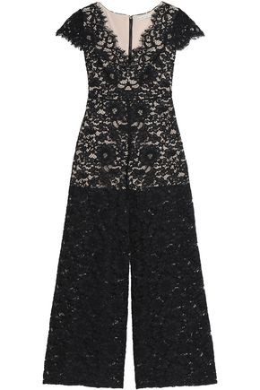 ALICE + OLIVIA Flared corded lace jumpsuit