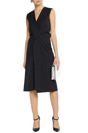 MAISON MARGIELA Wrap-effect pinstriped wool dress
