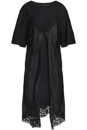MAISON MARGIELA Layered lace-trimmed silk-satin and cotton-jersey dress