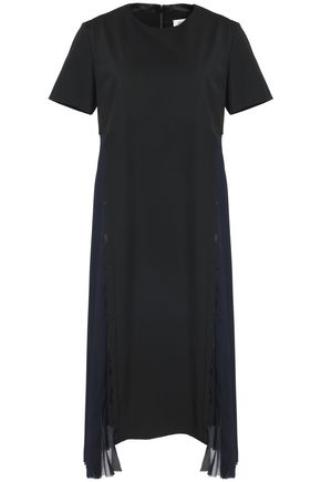 MAISON MARGIELA Pleated crepe de chine and twill dress