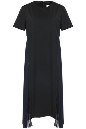 MAISON MARGIELA Pleated crepe de chine and twill dress