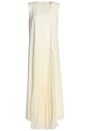 MAISON MARGIELA Pleated chiffon-paneled wool-blend twill maxi dress