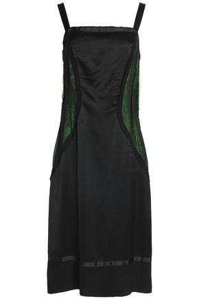 MAISON MARGIELA Neon lace-trimmed mesh-paneled satin dress