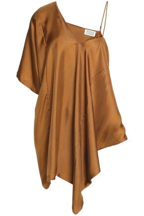 MAISON MARGIELA Asymmetric draped silk-satin twill top