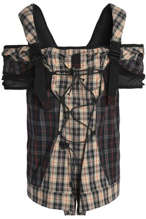 MAISON MARGIELA Cold-shoulder lace-up mesh and checked cotton top